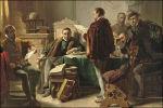 Marnix van Sint-Aldegonde draagt het Wilhelmus voor aan Willem van Oranje